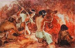 Amorsolo: Burning of Idols (Leo Cloma) Tags: religious gallery furniture auction philippines images ephemera leon auctions makati autographs manuscripts cloma