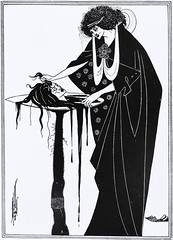 """The Dancer's Reward"" by Aubrey Beardsley from ""Salome"" by Oscar Wilde. NY: Three Sirens Press, (c. 1930). (lhboudreau) Tags: art illustration book artwork play drawing oscarwilde wilde illustrations drawings books dancer story artnouveau tragedy salome grotesque penandink bookart blackink beardsley beheading nineteenthcentury hardcover johnthebaptist aubreybeardsley stageplay hardcovers britishartist headonaplatter englishartist englishillustrator threesirenspress dancersreward thedancersreward"