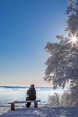 Nice spot (mpakarlsson) Tags: blue winter sky woman sun white snow tree sunshine lady canon bench landscape amazing frost sitting view sweden silence resting moment 70200 skaraborg falkping 5dmarkii 5dii 5dm2 5dmark2