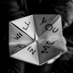 6.invite (emifly) Tags: blackandwhite bw selfportrait game origami invitation choice pick selfie