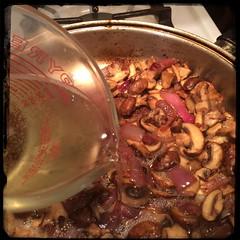 #Scallopini Pork w/ #Mushrooms & #Moscato #homemade #CucinaDelloZio - add the #wine (grapegraphics) Tags: mushrooms wine homemade scallopini moscato cucinadellozio
