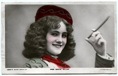 Miss Gertie Millar, Edwardian stage actress (The Wright Archive) Tags: woman girl beautiful hat hair pretty stage postcard archive cigar smoking musical curly singer actress millar wright gertrude rotary edwardian gertie 1905 comedies 1938s