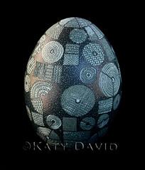 """Altitude"" (Katy David Art) Tags: etched green art folk circles stripes egg fine over aerial emu crops wax agriculture dots circular resist eggshell beeswax pysanka pysanky"