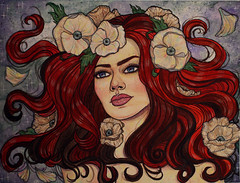 Persephone (crimsonology) Tags: flowers portrait watercolor dead drawing babe sketchbook redhead mythology persephone coloredpencil blooming driedflower pencilcrayon crimsonology