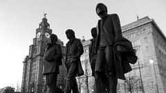 The Quartet (vfrgk) Tags: blackandwhite bw sculpture streetart art monochrome statue architecture liverpool artwork streetphotography urbanart threegraces urbansculpture thebeatles quartet fabfour liverbirds liverbuildings
