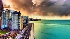 Storm approching Chicago (ionu_t_z) Tags: street travel panorama lake chicago storm rain weather clouds landscape illinois spring cloudy aerial enjoy lakeshore hdr approaching