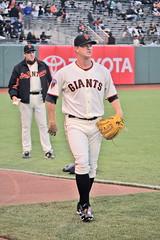 Matt Cain warming up at AT&T Park in San Francisco. Dave Righetti watching. (GMLSKIS) Tags: sanfrancisco california baseball mlb mattcain daverighetti attpark