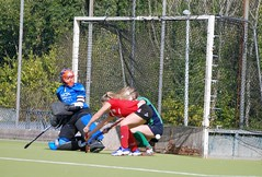 Siobhan getting in an excellent block on the post to prevent Harlequins convertings their short corner to the corner! (Greenfields Hockey Club) Tags: hockey cork connacht quins harlequins greenfields dangan ihl irishhockeyleague greenfieldshockeyclub irishhockey connachthockey hockeygalway corkharlequins