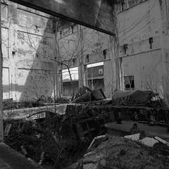 Messed Up (.:Axle:.) Tags: bw slr industry 120 6x6 film mediumformat square blackwhite nc rust ruins industrial factory fuji kodak stock northcarolina hasselblad urbanexploration leftovers fujifilm neopan powerplant ue mamu acros urbex xtol acros100 filmphotography fujiacros100 oldfort filmisnotdead hasselblad500c filmisalive kodakxtol carlzeissdistagon50mm14 believeinfilm mamuviii mamu8