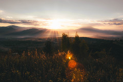 Sunrise (ongthr) Tags: light summer cloud sun mountain green nature grass landscape thailand eyes view hill smooth flare chiangmai sunrises coming visual viewpoint far