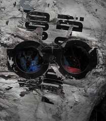 Untitled (Sea Moon) Tags: blue red abandoned wet trash magazine paper found glasses 3d specs weathered pulp