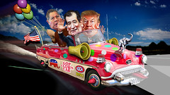 GOP Clown Car Final Three (DonkeyHotey) Tags: ohio elephant photomanipulation photoshop photo election texas florida senator political politics newhampshire donkey manipulation governor politician thedonald donaldtrump republican campaign sr dnc democrat primary gop rnc teaparty apprentice commentary generalelection 2016 politicalcommentary donaldjohntrump johnkasich donkeyhotey tedcruz