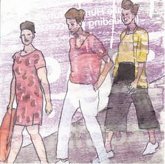 # 112 (21-04-2016) (h e r m a n) Tags: fashion illustration drawing zwembad cardboard herman carton mode illustratie bock karton oosterhout tekening 10x10cm threewomen tegeltje drievrouwen 3651tekenevent
