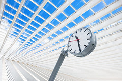 time () Tags: blue sky white building clock europe belgium time structure trainstation transparent eternity liege eternal xt1 ligeguillemins xf14mm