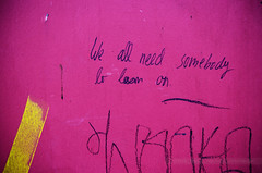 We All Need Somebbody to Lean On, Frankfurt, Germany (Seven Seconds Before Sunrise) Tags: travel pink yellow wall handwriting germany deutschland graffiti europe frankfurt tag frankfurtammain