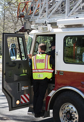 firefighters - Truck 221 - Cleveland Heights Fire Department (Tim Evanson) Tags: hydrant firetruck firedepartment laddertruck clevelandheightsohio clevelandheightsfiredepartment