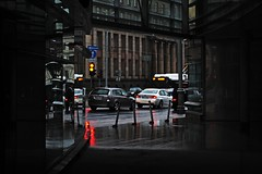 Rainy day impression [explore] (mkorolkov) Tags: road street city light urban color reflection cars lights trafficlight day streetphotography rainy fujifilm crossroads impression xe1 xc50230