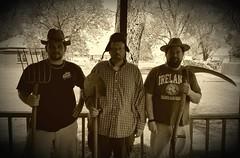 Missouri Gothic (yetanotherstephanie) Tags: sepia outdoors spring edited hats guys brothersinlaw justforfun scythe antiqued mobilephotography trentonmissouri galaxys6 missourigothic samsungphotoeditor