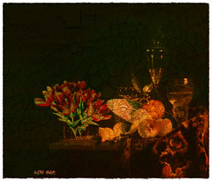 Still life - Tulips & Peaches (Leo Bar) Tags: stilllife art texture dark painting artwork aged oilpainting oldmasters crackedeffect leobar pixinmotion