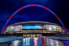 Crystal Palace Wembley Stadium (andy.gittos) Tags: reflection cup rain football arch crystal stadium soccer illumination palace illuminated semi emirates final win watford fa facup wembley