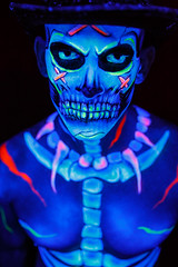 Black Light Body Paint Skeleton (JeremyHall) Tags: light black halloween skeleton skull intense painted uv bodypaint blacklight diadelosmuertos