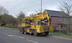 Burnett's Hydrocon crane, stopped in Trowell, Notts (Lady Wulfrun) Tags: yellow mobile with crane 1981 jib 0115 burnett trowell hydrocon aro136x