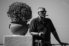 Man With Cigar (Cornelli2010) Tags: italien portrait people blackandwhite bw italy man sunglasses relax capri candid streetphotography cigar portrt smoking mann relaxed entspannt sonnenbrille zigarre rauchen schwarzweis canonef70200mm14l canoneos5dmarkiii