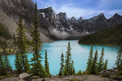 Moraine Lake From The Rockpile, Valley of the Ten Peaks, Alberta, Canada :: 0.6 ND Lee Filters (:: Artie | Photography :: Travel ~ Oct) Tags: park mountain lake canada water rock photoshop canon river landscape rockies cloudy outdoor tripod hill cyan peak wideangle canadian glacier national alberta lee bow nd summit banff mountainside filters f28 ef moraine banffnationalpark rockpile glacial artie mistaya valleyofthetenpeaks 1635mm photomatix rockflour cs6 tonemapping neutraldensity tonemap leefilters 06nd 5dmarkiii 5dm3 06ndleefilters