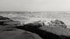 My first Getty/EyeEm sale! (SaltyDogPhoto) Tags: ocean travel sea blackandwhite bw beach water monochrome photography newjersey rocks waves samsung splash oceancity crashing photooftheday ocnj skancheli samsungs6 saltydogphoto
