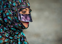 a bandari woman wearing a traditional mask called the burqa at panjshambe bazar thursday market, Hormozgan, Minab, Iran (Eric Lafforgue) Tags: people woman face horizontal outdoors persian clothing asia veil mask iran market muslim islam religion hijab culture persia headshot hidden covered iranian bazaar adults adultsonly oneperson islamic traditionaldress burqa customs ethnicity middleeastern sunni burka chador 20sadult youngadultwoman balouch hormozgan onewomanonly burqua  bandari  1people  iro thursdaymarket  minab colourpicture  borqe panjshambe panjshambebazar boregheh iran034i2914