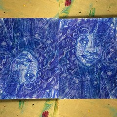 Turn turn turn (inklings and imprints) Tags: art pencil watercolor painting faces drawing originalart small mini hidden colored psychedelic coloredpencil