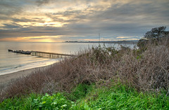 Pier from the Cliff (rejphotography) Tags: ocean california sunset sea beach clouds pier pacific shipwreck hdr aptos