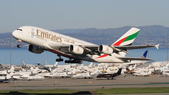 Emirates (A6-EEQ) (A Sutanto) Tags: plane fly flying airport san francisco sfo aviation flight off emirates a380 take spotting ksfo a388 a6eeq