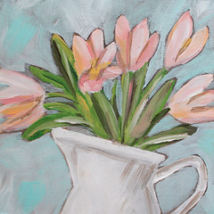 Tulips in a Pitcher (Art by Trish Jones (theOldPostRoad)) Tags: pink flowers original white flower art floral painting jones tulips trish pale pitcher