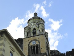 Bell tower of Amalfi cathedral (angelinas) Tags: sky italy architecture clouds europe italia amalficoast outdoor details eu villages italie amalfi belltowers costieraamalfitana