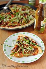 DSC_4469 s (travellingfoodies) Tags: cucumber pizza garlic scallions leek roastduck mozzarellacheese springonion hoisinsauce shiitakemushrooms pekingduckpizza samsungsmartoven crustypan