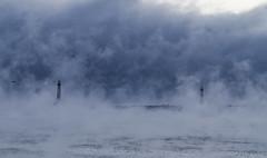 Wall (brucetopher) Tags: ocean winter sea sky lighthouse cold water fog bay coast seaside lighthouses waterfront outdoor freezing steam arctic coastal shore sublime frigid seashore seasmoke arcticmist arcticsteam