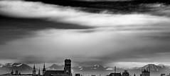 Munch Roofs with Alps (Traveller_40) Tags: 50shadesofgray alpen alps alterpeter altesrathaus bw bavaria bayern blackwhite blackandwhite deutschland frauenkirche germany minga monaco monochrome mountains münchen panorama rathaus schnee schwarzweis snow wolken clouds dogwoodchallenge dogwoodchallenge52 dogwoodweek2 noiretblanc