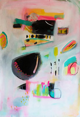 Sunrise City pt. 2 (sarahspellitout) Tags: city pink blue original orange white abstract black art yellow painting fun happy acrylic turquoise canvas scape unstretched