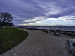 A Solitary Approach (Tony Tomlin) Tags: ocean sea canada beach clouds bc path britishcolumbia logs shore crescentbeach gulfislands