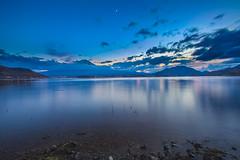 Moon Set & Sunset  (Sharleen Chao) Tags: sunset moon lake reflection japan night canon landscape fuji mt cloudy  bluehour   hdr mtfuji kawaguchi yamanashi longexplosure   1635mm   skyburning 5dmarkiii
