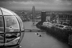 London Eye view (meldarbordeaux) Tags: city uk travel england blackandwhite panorama london up wheel buildings outside europe cityscape view noiretblanc unitedkingdom londoneye bigwheel bnw hauteur