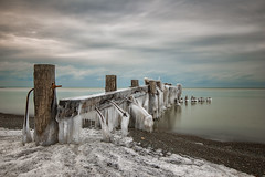 Icy Fifty Point Pier (angie_1964) Tags: old longexposure winter sky snow ontario canada ice beach nature clouds landscape outside pier explore grimsby fiftypoint nikon1635mmf4 nikond800e