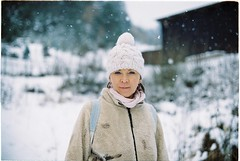mom (habologique) Tags: winter portrait woman snow blur color colour film analog 35mm lens snowflakes 50mm nikon kodak f14 iso retratos 200 plus slovensko slovakia f3 analogue koda