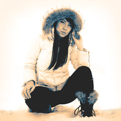 038 | 366 | V (Randomographer) Tags: winter woman snow black cold out kneel furry pants boots human jacket hood washed miranda processed 38 366 project366