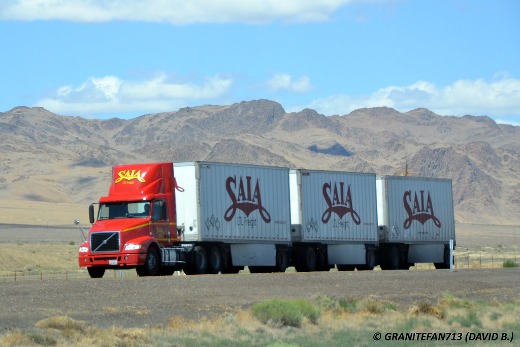 Saia LTL Freight Volvo VNM with Triples (Trucks, Buses, Trains by