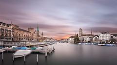 Stormy winds in Zurich (pixadeleon) Tags: city longexposure water river cityscape zrich goldenhour limmat cloudscloudscape