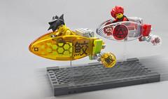 Manga Style Speeder Bikes (halfbeak) Tags: speed shark lego zoom manga legospeederbike