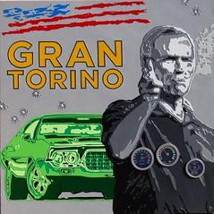 GRAN TORINO 90x90 (jice.chauvin23) Tags: film peinture popart artcontemporain clinteastwood pochoir grantorino galeriedart