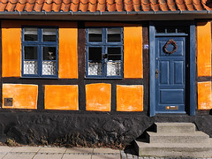 You are welcome ! (Lumatic) Tags: door blue windows roof orange house texture window architecture denmark colorful outdoor cottage entrance half welcome framework huset 87 timbered truss hyggelig nysted